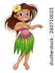 cute cartoon dancing  hawaiian... | Shutterstock .eps vector #260710025