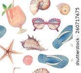 watercolor summer vacation... | Shutterstock .eps vector #260717675
