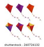 colorful flying kites set in...   Shutterstock .eps vector #260726132