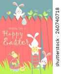 easter bunnies and easter eggs. ... | Shutterstock .eps vector #260740718