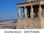 Famous  Caryatides In Acropoli...