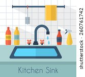 kitchen sink with kitchenware ... | Shutterstock .eps vector #260761742