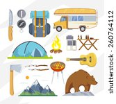 Colourful camping vector icon set for your business, web sites, presentations, advertising etc. Quality design illustrations, elements and concept. Flat style. - stock vector