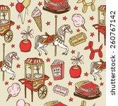 hand drawn luna park vintage... | Shutterstock .eps vector #260767142