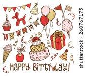 hand drawn birthday set.... | Shutterstock .eps vector #260767175