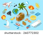 travel objects icon set flat 3d ... | Shutterstock .eps vector #260772302