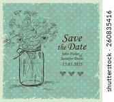 retro wedding invitation with... | Shutterstock .eps vector #260835416