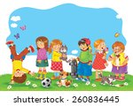 a group of happy cute kids... | Shutterstock . vector #260836445