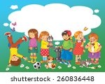 a group of happy cute kids... | Shutterstock . vector #260836448