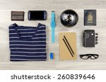 outfit of traveler  student ... | Shutterstock . vector #260839646