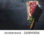 Vintage Cleaver And Raw Beef...