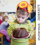 little cute boy having birthday ... | Shutterstock . vector #260843075