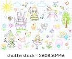 vector sketches with happy... | Shutterstock .eps vector #260850446