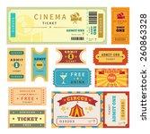 retro tickets set. template... | Shutterstock . vector #260863328
