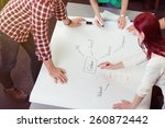 friend leaning around the table ... | Shutterstock . vector #260872442