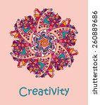 multi colored simple doodle... | Shutterstock .eps vector #260889686