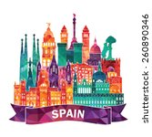 Spain Detailed Skyline. Vector...