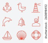marine icons  thin line style ...