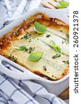 Stock photo healthy zucchini lasagna bolognese in a baking dish 260921378