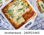 Stock photo healthy zucchini lasagna bolognese in a baking dish 260921465