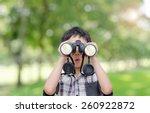 asian boy with binoculars in... | Shutterstock . vector #260922872