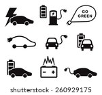 electric car icons vector set... | Shutterstock .eps vector #260929175