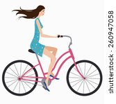 beautiful girl in dress rides a ... | Shutterstock .eps vector #260947058