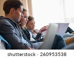 three young students preparing... | Shutterstock . vector #260953538