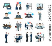 conference icons flat set with... | Shutterstock .eps vector #260973872