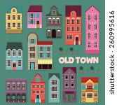 old town set | Shutterstock .eps vector #260995616
