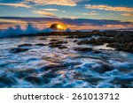 waves and rocks at sunset  at... | Shutterstock . vector #261013712