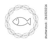 round ornamental cachalot.  | Shutterstock .eps vector #261023216