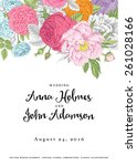 vector vintage floral wedding... | Shutterstock .eps vector #261028166