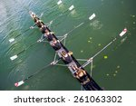 boat coxed eight rowers rowing...   Shutterstock . vector #261063302