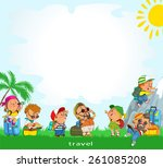 funny group of tourists in... | Shutterstock .eps vector #261085208