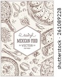 mexican food frame. linear... | Shutterstock .eps vector #261089228