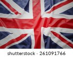 closeup of union jack flag  | Shutterstock . vector #261091766