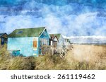 Colourful Beach Huts On...