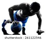 one caucasian man exercising...   Shutterstock . vector #261122546