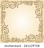 floral ornament frame in brown... | Shutterstock .eps vector #261129728