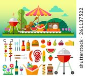 summer picnic in meadow with... | Shutterstock .eps vector #261137522