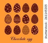 set of decorated chocolate eggs....   Shutterstock .eps vector #261145205