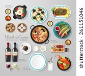 Infographic food business flat lay idea. Vector illustration hipster concept.can be used for layout, advertising and web design.   Shutterstock vector #261151046