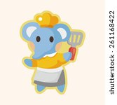 animal elephant chef cartoon  | Shutterstock . vector #261168422