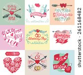 wedding day love romantic... | Shutterstock .eps vector #261168482