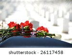 Casket  With Flowers On Top...
