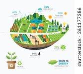 infographic energy leaf shape... | Shutterstock .eps vector #261177386
