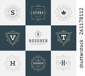 set luxury logos template... | Shutterstock .eps vector #261178112