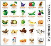 ingredients icons set vegetable ... | Shutterstock .eps vector #261180932