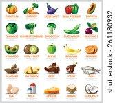 ingredients icons set vegetable ... | Shutterstock .eps vector #261180932